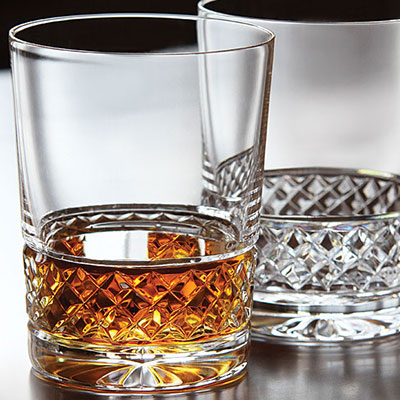 Cashs Crystal Cooper Single Malt Whiskey Glasses, Pair