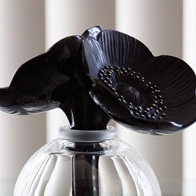 Lalique Two Anemones Black Perfume Bottle