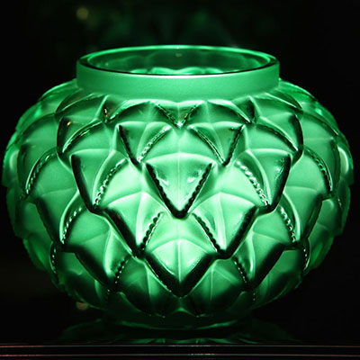 "Lalique Crystal, Languedoc 8 7/16"" Crystal Vase, Green"