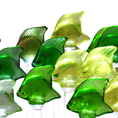 Lalique Crystal, Aquarium LED Green with 25 Fish