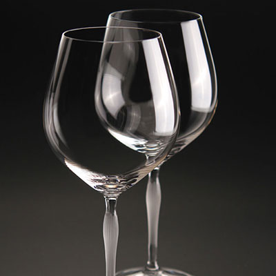 Lalique Crystal, 100 Points Burgundy Glass By James Suckling, Set of 6