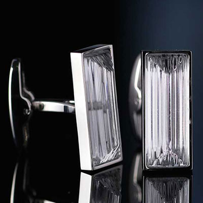 Lalique Rayonnante Crystal and Stainless Steel Cufflinks Pair, Clear