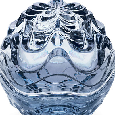 Lalique Crystal, Vibration Box, Blue Luster