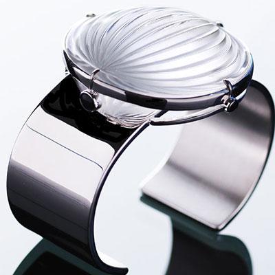 Lalique Crystal Vibrante Cuff Bracelet, Argent