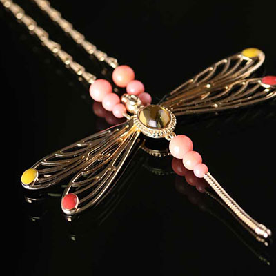 Lalique Libellule Necklace, Ambre and Gold Vermeil