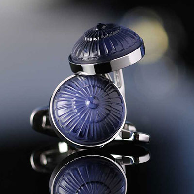 Lalique Gourmande Crystal and Stainless Steel Cufflinks Pair, Blue