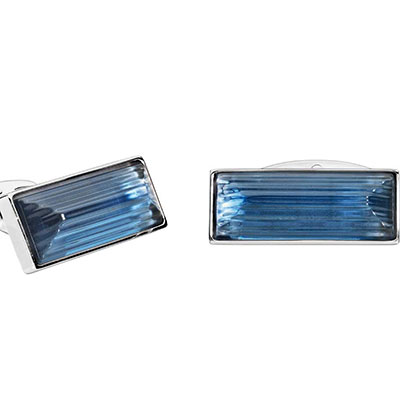 Lalique Rayonnante Crystal and Stainless Steel Cufflinks, Blue
