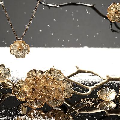 Lalique Pensee Lustre Cuff, Vermeil