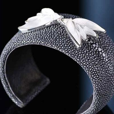 Lalique Crystal Hirondelles Bracelet, Galuchat