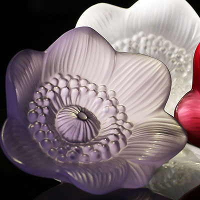 Lalique Crystal, Anemone Flower Sculpture, Blue Lavender