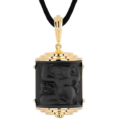 Lalique Nysa Pendant Necklace, Noir
