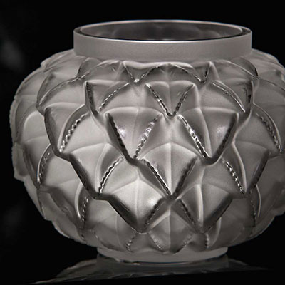 "Lalique Crystal, Languedoc 8 7/16"" Crystal Vase, Clear"