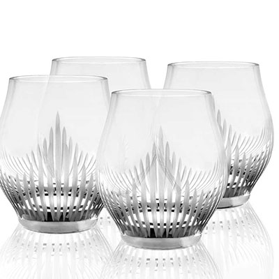 Lalique Crystal, 100 Points Shot Crystal Glasses By James Suckling, Set of Four