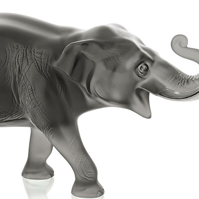Lalique Crystal, Sumatra Elephant, Grey