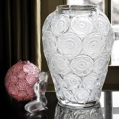 Lalique Crystal, Anemones Crystal Vase, Clear