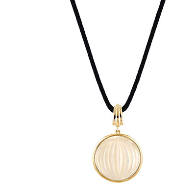 Lalique Vibrante Round Pendant Necklace, Gold Vermeil