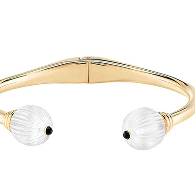 Lalique Sterling Silver Vibrante Bangle Bracelet, Gold Vermeil