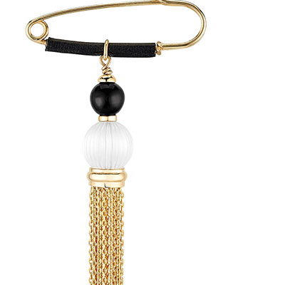 Lalique Vibrante Tassel Brooch, Gold Vermeil
