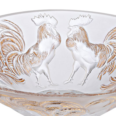 Lalique Crystal, Zodiac Rooster Crystal Bowl, Clear And Gold Stamped, Limited Edition Of 888 Pieces