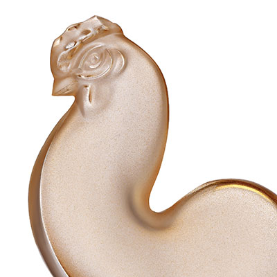 Lalique Zodiac Rooster Sculpture, Gold Luster