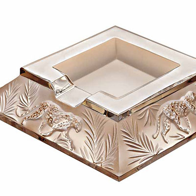 Lalique Crystal, Jungle Crystal Ashtray, Gold Luster