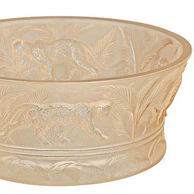 Lalique Crystal, Jungle Crystal Bowl, Gold Luster
