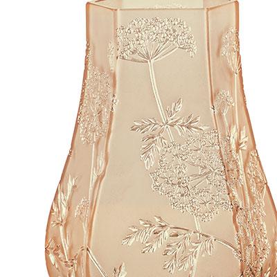 Lalique Crystal, Ombelles Crystal Vase, Gold Luster
