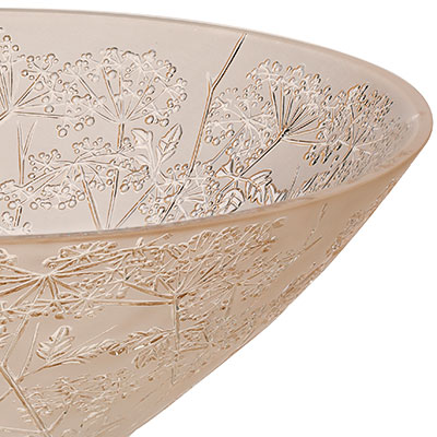 Lalique Crystal, Ombelles Crystal Bowl, Gold Luster