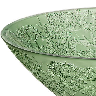 Lalique Crystal, Ombelles Crystal Bowl, Green
