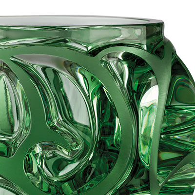 Lalique Crystal, Tourbillons Small Crystal Vase, Light Green