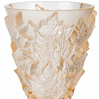 Lalique Crystal, Champs Elysees Small Crystal Vase, Gold Luster