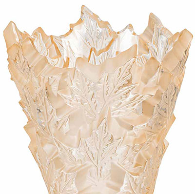 Lalique Crystal, Champs Elysees Crystal Vase, Gold Luster