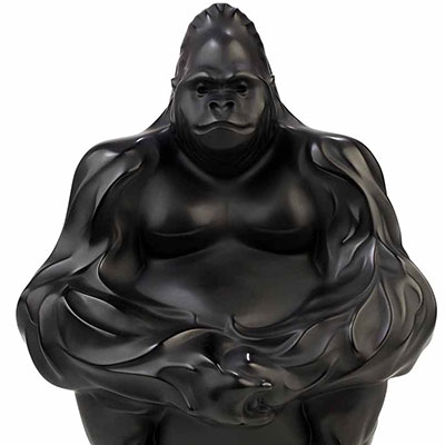 Lalique Crystal, Gorilla Sculpture, Bookend, Black