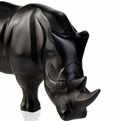 Lalique Crystal, Rhinoceros Sculpture, Black