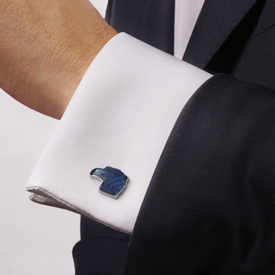 Lalique Eagle Crystal and Stainless Steel Cufflinks Pair, Sapphire
