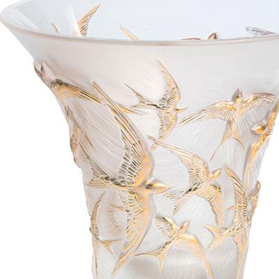 """Lalique Hirondelles 11 1/2"""" Flared Gold Vase"""