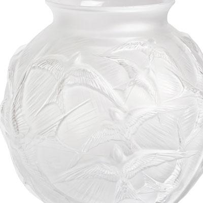 """Lalique Hirondelles 8 1/2"""" Round Vase, Clear"""