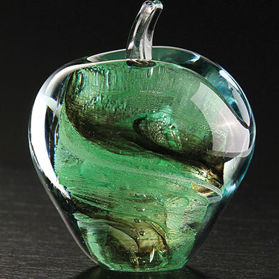 Cashs Ireland, Art Glass Forty Shades of Green, Apple Paperweight