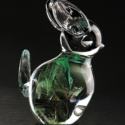 Cashs Ireland, Art Glass Forty Shades of Green, Bunny Rabbit Paperweight