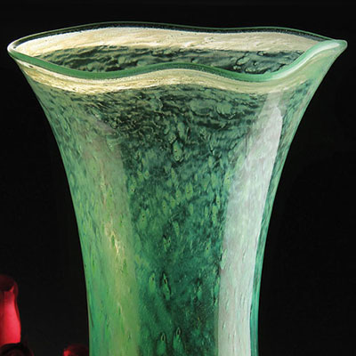 Cashs Ireland, Art Glass Forty Shades of Green, Large Vase
