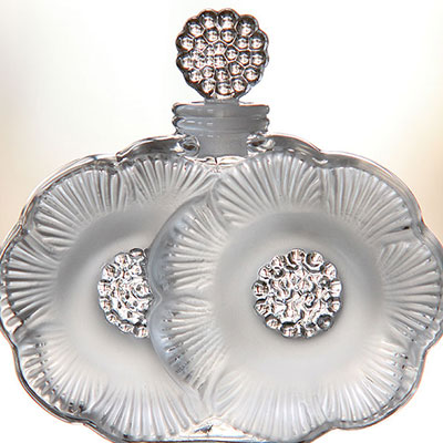 Lalique Crystal, Crystal Perfume Bottle Two Flowers
