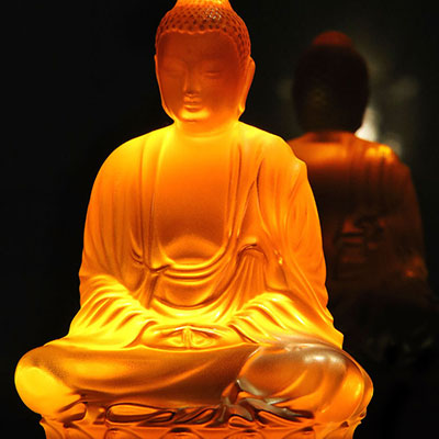 Lalique Crystal, Amber Buddha, Large, Limited Edition