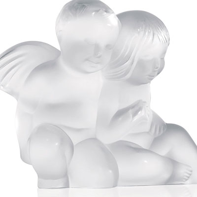Lalique Crystal, Figurine Twin Angels Sculpture