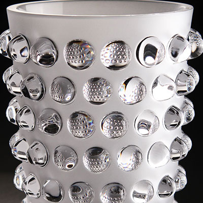 """Lalique Crystal, Mossi 8 1/4"""" Crystal Vase, Clear"""