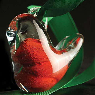 Cashs Ireland, Crystal Art Glass Forty Shades of Green, Red Christmas Bird Ornament