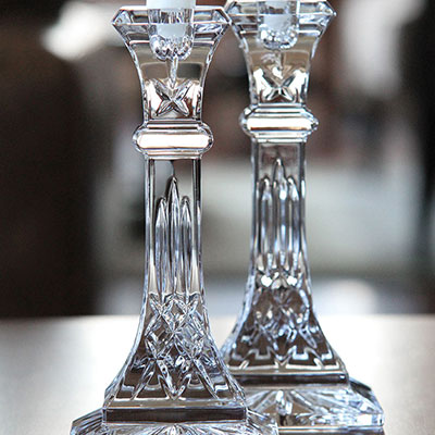 "Waterford Crystal, Lismore 8"" Crystal Candlestick, Pair"