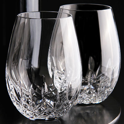 Waterford Lismore Nouveau Stemless Deep Red Wine, Pair