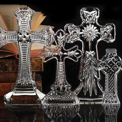 Waterford Crystal, Kells Standing Crystal Cross Sculpture