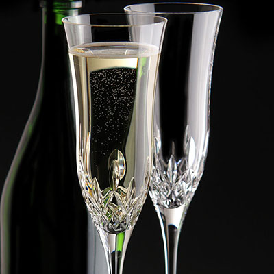 Waterford Crystal, Lismore Essence Champagne Crystal Flutes, Pair