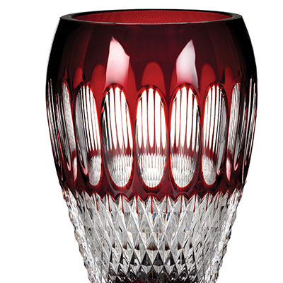 "Waterford Crystal, Colleen 8"" Crystal Vase, Ruby"